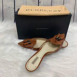 Burberry Leather Tassel Mules